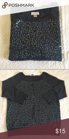 Long sleeve sequined top Charcoal gray long sleeve sequined top. 100% cotton. EUC. Ann Taylor Sweaters Crew & Scoop Necks