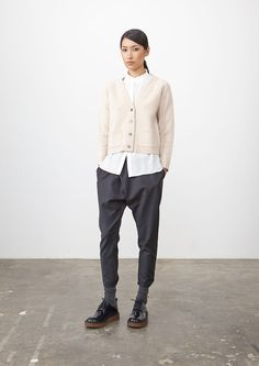 Reed Sullivan knit + Ivory Bleeker shirt (PF) + mid Grey Fulton PAnt