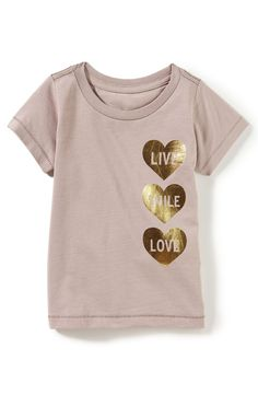 Peek Live Smile Love Tee (Baby Girls) available at Pretty Shirts, Cute Shirts, Casual Shirts, Kids Shirts, T Shirts For Women, Little Girl Outfits, Kids Outfits, Cute Shirt Designs, Shirt Print Design