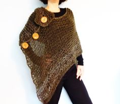 This wrap inspired by nature is gorgeous and warm. The asymmetrical rolled collar surprises and delights for a unique and dramatic look. It covers but still shows off the waist and curving hips. Designed for bulky yarn, this poncho is worked flat , quick and easy to make, perfect pattern for a beginner knitter. Knit this for yourself or as a gift for your loved ones! Unique Designs for Unique Women!  Skill level; beginner Size: Adult size S to XL Materials: - straight knitting needles…