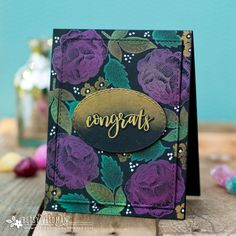 Using Mica Powders on Dark Backgrounds. Congrats Card by Betsy Veldman for Papertrey Ink (May 2018)