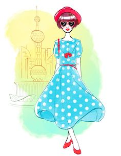 Shanghai-inspired Disney style | Gabby Zapata fashion illustration | [ http://di.sn/6001BNwKh ]