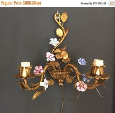Fall Sale Tole Sconces Luxury Pair of Tole by TheEnglishSisters