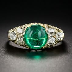 Antique Cabochon Emerald and Diamond Ring Estate Vintage Jewelry