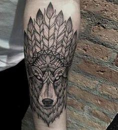 Ornamental wolf tattoo by Lucas Martinelli
