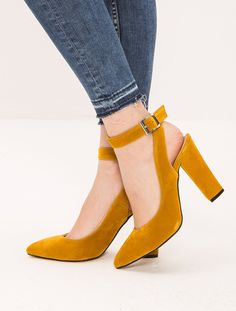 STİLETTO Ciccone Hardal Süet Topuklu Ayakkabı