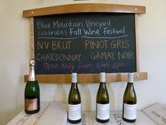 Come celebrate Fall Wine Festival with some NV Brut Sparkling at Blue Mountain Vineyard and Cellars.  Follow the link for directions on how to find us: http://www.bluemountainwinery.com/Contact-Us