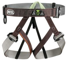 Petzl Pandion Climbing Harness (One Size). A lightweight and compact harness for ski mountaineering, glacier travel, snow travel and adventure racing. A flexible equipment loop on the waist-belt. Rock Climbing Harness, Rock Climbing Gear, Hiking Wear, Hiking Outfits, Survival, Outdoor Store, Adjustable Legs, Mountaineering, Brown And Grey