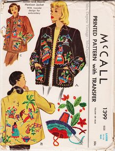 Vintage Outfits, Vintage Fashion, Vintage Sewing Patterns, Clothing Patterns, Mexican Embroidery, Flower Embroidery, Embroidery Ideas, Hand Embroidery, Machine Embroidery
