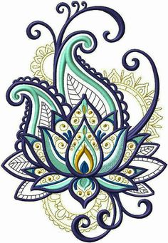 Bordado - embroidery designs рисунок узора мандала, узоры рисунков х Machine Embroidery Patterns, Embroidery Patches, Simple Embroidery, Hand Embroidery, Paisley Embroidery, Embroidery Tattoo, Embroidery Ideas, Henna Designs, Flower Designs