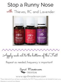 Stop a runny nose with Thieves, RC, and Lavender! Young Living Essential Oils #drmom by Joann E Granger