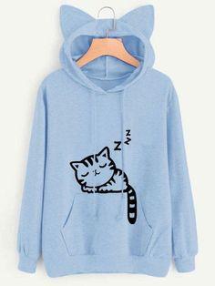 Gracila Casual Pure Color Cat Ears Hooded Cute Cat Pattern Printed Women Hoodies #CatEars