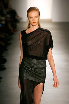 JEREMY LAING, SS11: leather skirt as belt/business-blocker. much love for canadians.