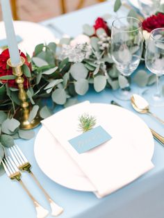 Dusty Blue & Cranberry The Vault: Curated & Refined Wedding Inspiration - Style Me Pretty