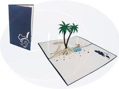 Aufklappbare POP UP Geburtstagskarte mit Urlaubsinsel. Mehr entdecken auf: www.lin-popupkarten.de Pop Up Karten, Holiday, Card Crafts