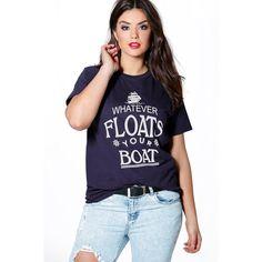 5faea0532cb Boohoo Plus Plus Maisie Slogan Tee ( 16) ❤ liked on Polyvore featuring tops