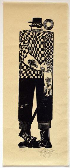 Image of Ed Emberley woodblock print, Paul Bunyan, Unframed