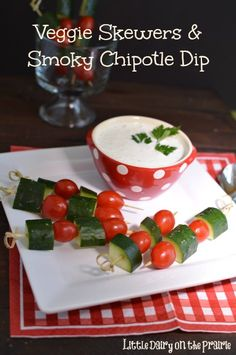Veggie Skewers are fun alternative to serving salad! Kids even want to eat them!