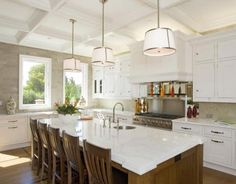 Transitional U-shaped White kitchen, white cabinets,
