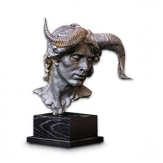 The Designer's Atelier bust of the horned God Pan embodies the archetype of male virility and sexuality. A gothic mystery of the sculpture imbues its unusual character, rendered in black resin and Carrara marble powder Pan is undoubtedly a stand alone treasure! The mortal God of the wild, shepherds and hunting served as an inspiration for this stunning piece. Pan's greatest conquest of the moon goddess Selene enhances the dark nature of his complex personality.