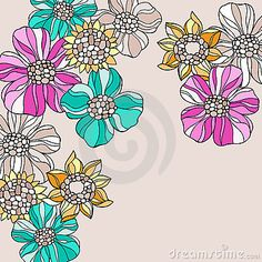 Psychedelic Doodle Flowers Vector