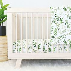 Leafy Greenery Watercolor Baby Bedding | Gender Neutral, Garden, Leaves, Greenery, Baby Girl | Leaves Crib Set | Greenery Floral Nursery