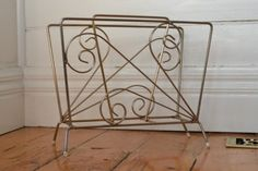 Vintage gold metal magazine rack Mid century  atomic Metal Magazine, Magazine Rack, Feet Show, Mid Century Furniture, Flamingo, Living Room, Gold, Vintage, Flamingo Bird