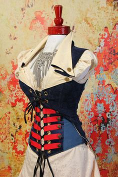 NEWBust 45 to 47Navy Blue Empire Corset with by damselinthisdress