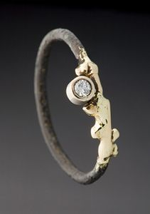 artfulhome.com, Steel Twiggy Ring, by Peg Fetter, gold steel and stone ring.
