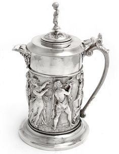 A Decorative Silver Plate Antique Wine Jug Embossed with Musicians & Dancing Figures