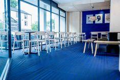 Flooring: Bolon by You;  Stripe, Blueberry Blue | KIN + ILK | Cardiff, United Kingdom