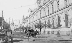 Alameda de las Delicias, Universidad de Chile, Iglesia de San Francisco de Santiago en 1910.