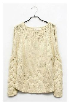 Chunky Cable Knit Jumper with Cut-out Shoulder: