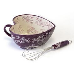 temp-tations® Floral Lace 2-qt. Heart-Shaped Mixing Bowl with Matching Whisk :: temp-tations® by Tara in Eggplant