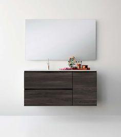 UNIBAÑO-Pack205-Baño Mueble de baño con encimera de 120cm y mueble portalavabo 2 cajones y armario.Espejo de baño. PVP Recomendado 1125€