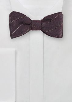Pencil Stripe Wool Bow Tie in Deep Burgundy, $29.90 | Cheap-Neckties.com