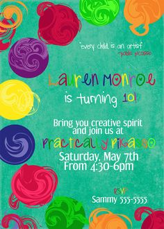 Paint Party Birthday InvitationDigital File by HelloLoveBoutique, $18.00
