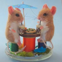 Needle Felted Art by Robin Joy Andreae love the super cute retro kitsch vintage looking textile art animal sculptures like whimsical faux taxidermy of this felt artist