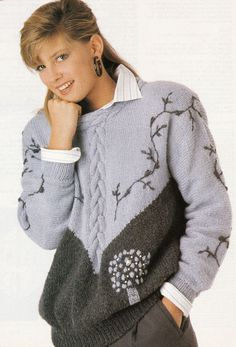 Vintage Knitting Pattern Instructions for a Ladies Embroidered Jumper 0c1acbf86