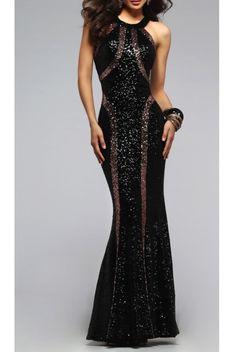 Faviana Copper Sequin Scoop Dress 7708