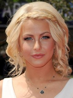 Everyone's chopping their hair short, so why not another short hairdo?  Julianne Hough looks angelic here with soft curls, framed away from her face with two strands of thin braids as a headband.   To replicate the braid, take two one inch strands from the nape of your neck (bellow all the layers of you hair) and start braiding upwards, and then tie or pin the ends to the other side below a few layers of hair.