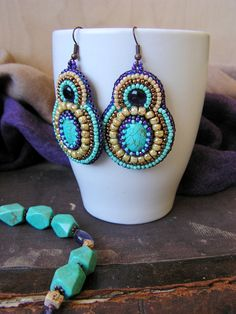 Bead embroidery Earrings Turquoise Cats eye by MisPearlBerry, $42.00