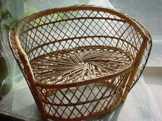 Vintage Wicker Rattan Chair for Doll or Teddy Bear Love Seat Sofa Couch #Unbranded