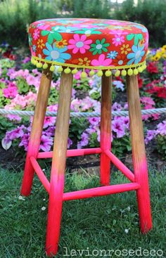 Diy Furniture Redo, Hand Painted Furniture, Repurposed Furniture, Gun Safe Room, Colourful Living Room, Upholstered Chairs, Handicraft, Stools, Crochet Projects