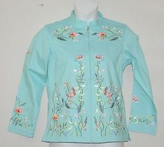 Quacker-Factory-Embroidered-Stretch-Jacket-Size-S-Turquoise