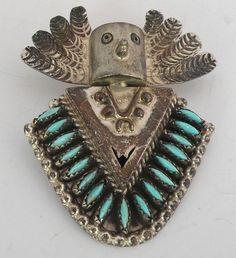 DEL FRED MASAWYTEWA Hopi Kachina Sterling & needlepoint Turquoise pin & pendant | Jewelry & Watches, Ethnic, Regional & Tribal, Native American | eBay!