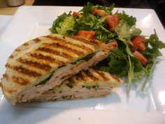 my personal pesto turkey panini recipe (photo not mine)    - wide whole grain bread glazed with olive oil  - turkey slices  - pesto (can buy in store)  - thin slices of tomato  - spinach leaves  - mayo (made with olive oil)  - sprinkles of fresh basil  - mozzarella or provolone cheese    Just cook it on a frying pan and flip, george foreman, or panini maker.    my personal favorite :)