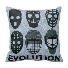 #Hockey Goalie Mask Evolution Throw Pillows. Features ice hockey netminder masks through the ages. To see this design on the full range of products, please visit my store: www.zazzle.com/gamefacegear*/ #icehockey