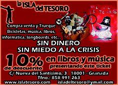 10% en libros y música en LA ISLA DEL TESORO ¡¡DALE LA VUELTA AL TICKET!! en la Cafetería de Filosofía de la UGR.