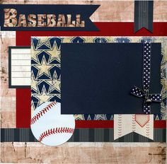 12x12 Premade Scrapbook Page - Baseball